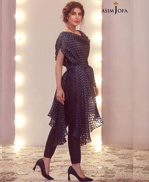 Asim Jofa Self Printed Organza Waist Belt Dress with pencil pant