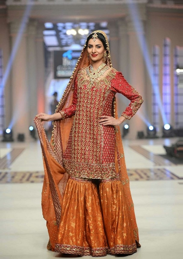 Rust Bridal Sharara with fully Embroidered Red Shirt
