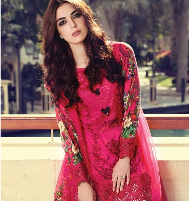 Maria B shocking pink lawn suit with embroidered net dupatta