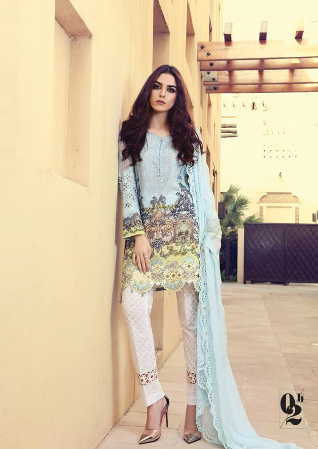 Digital printed lawn suit with schiffli embroidered chiffon sleeves and dupatta