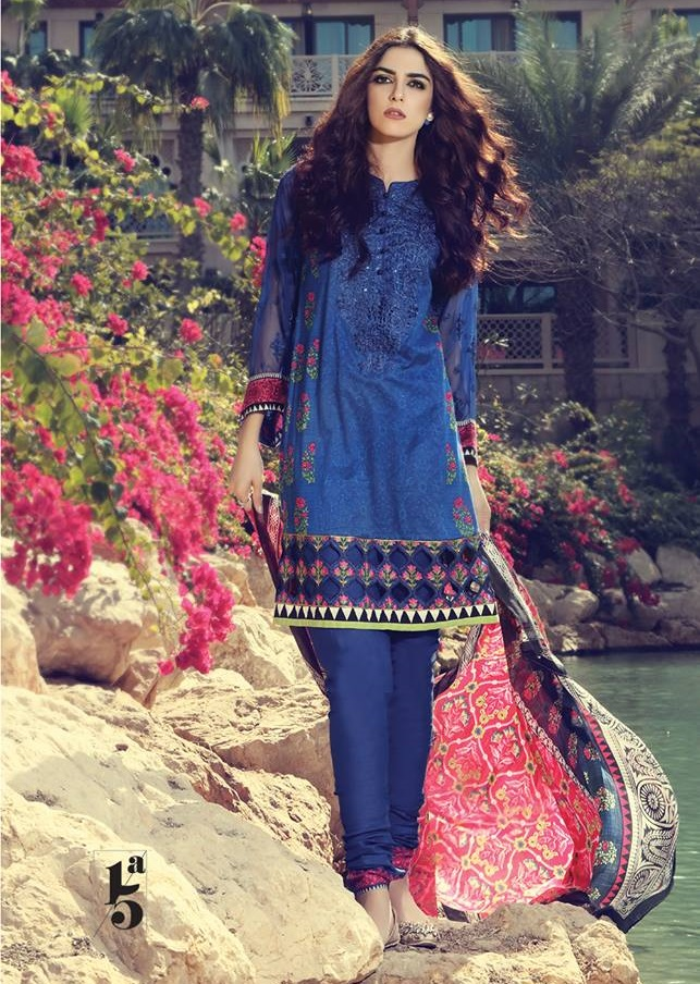 Maria B Royal blue lawn suit with chiffon sleeves
