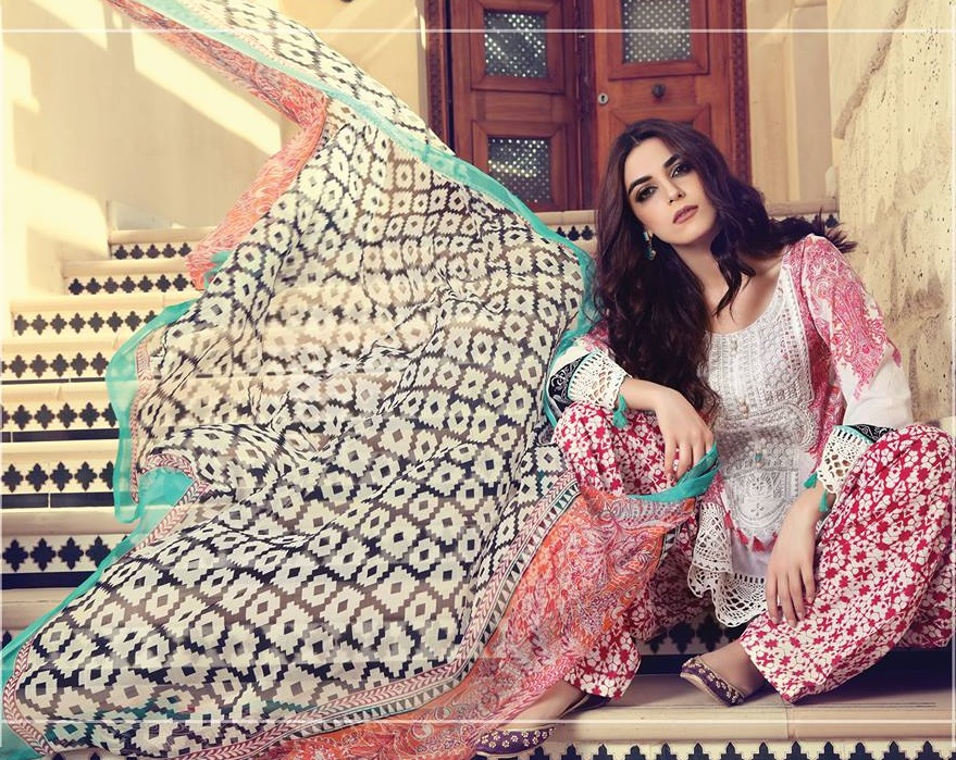 Maria.B printed lawn suit with embroidered neckline design