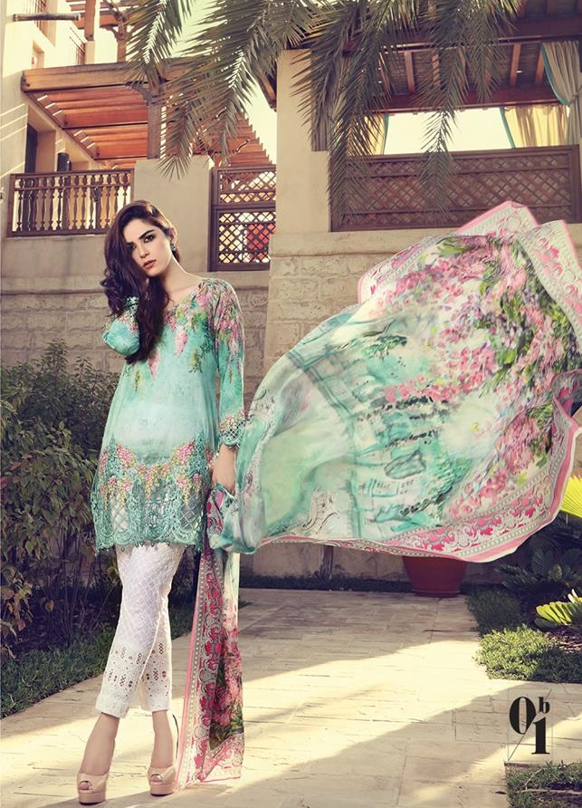 Maria.B Digital lawn with Embroidered Schiffli Trouser Lace