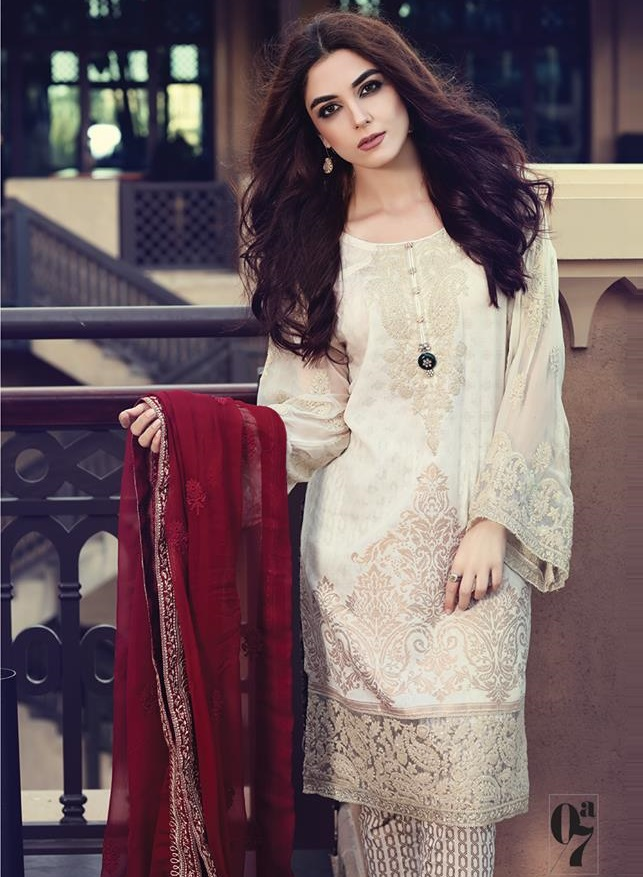 Skin colored Jacquard Lawn dress with maroon Embroidered Chiffon Dupatta