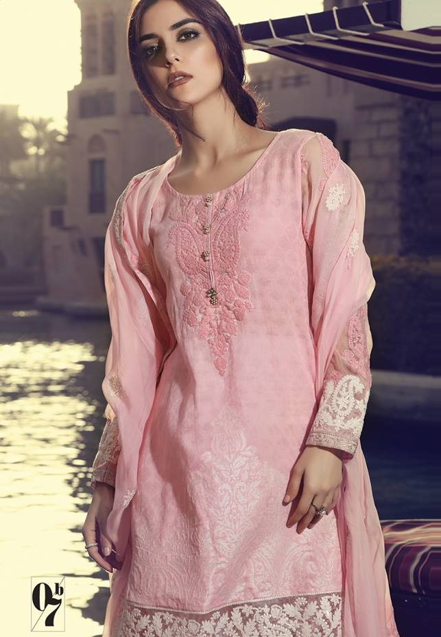 Baby pink jacquard lawn embroidered suit by Maria B