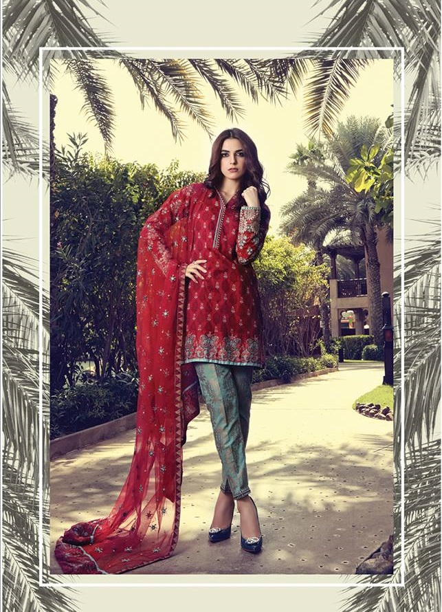 Maroon lawn suit with jacquard trouser and embroidered net dupatta