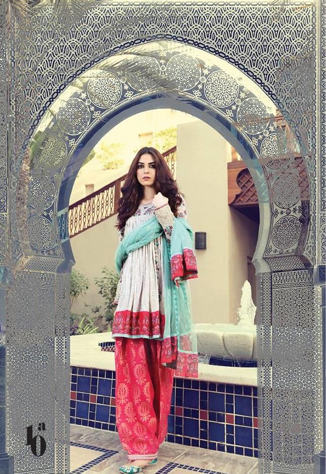 Maya Ali wearing Maria.B lawn suit with net dupatta