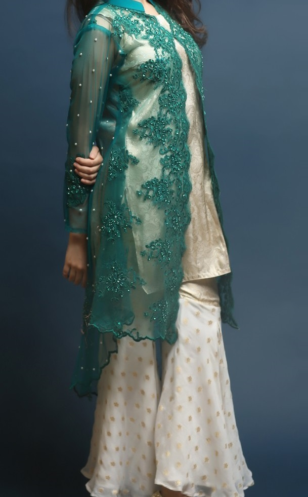 beautiful self printed sharara with plain top and front open net gown in green