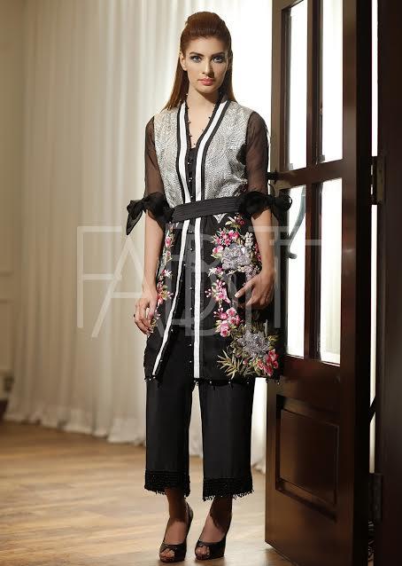 Front Open Chiffon and silk Dress with Plain waist Belt