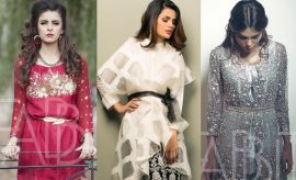 Chic Pakistani Designer Waist Belt Dress Designs 2017-2018