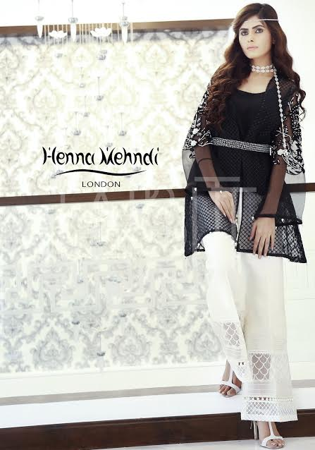 Black Net Outfit with Printed White Belt and embroidered sleeves