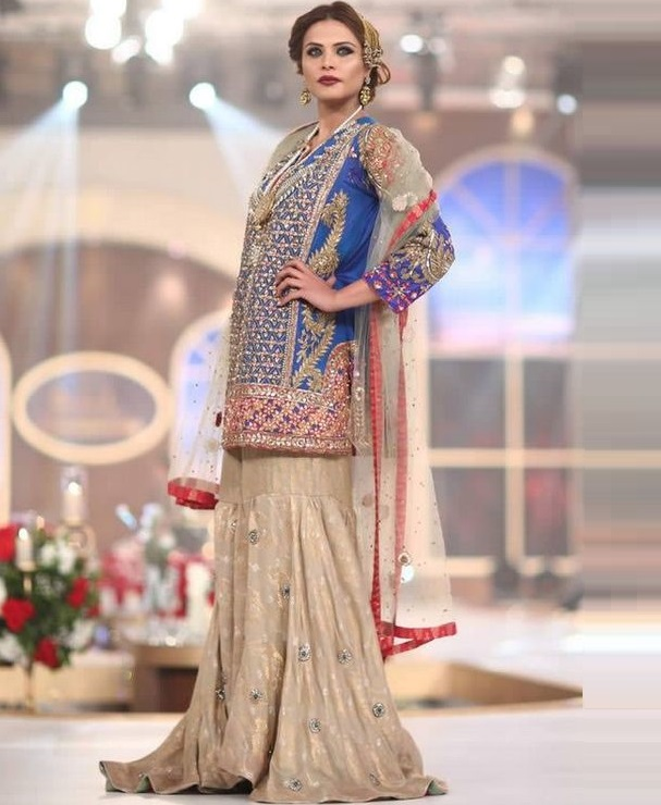 Party wear formal sharara with embroidered electric blue kurti