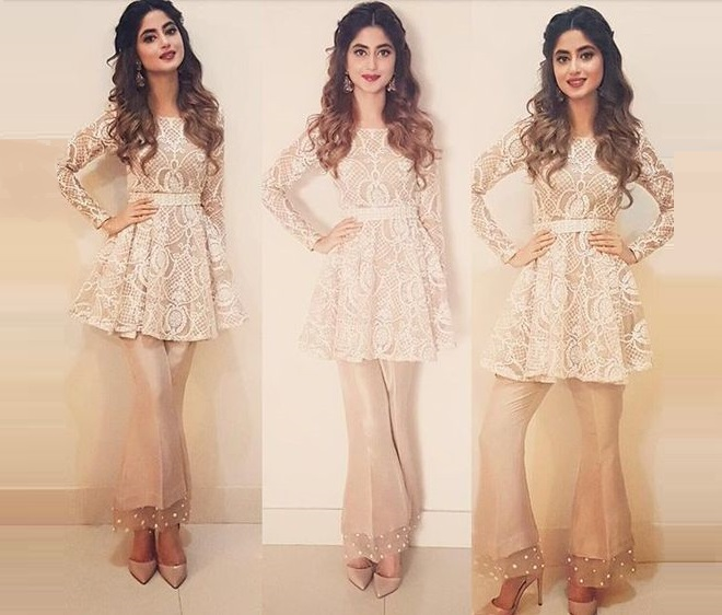 Sajal Ali wearing Waist belt peplum frock with bell bottom trouser