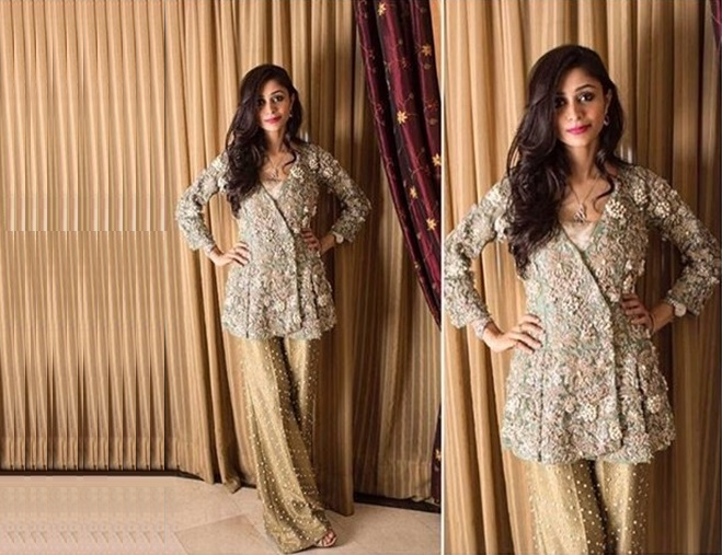 Angrakha style peplum frock with bell bottom pant