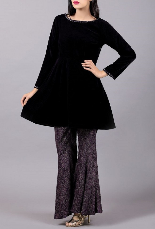 Black velvet peplum frock with bell bottom
