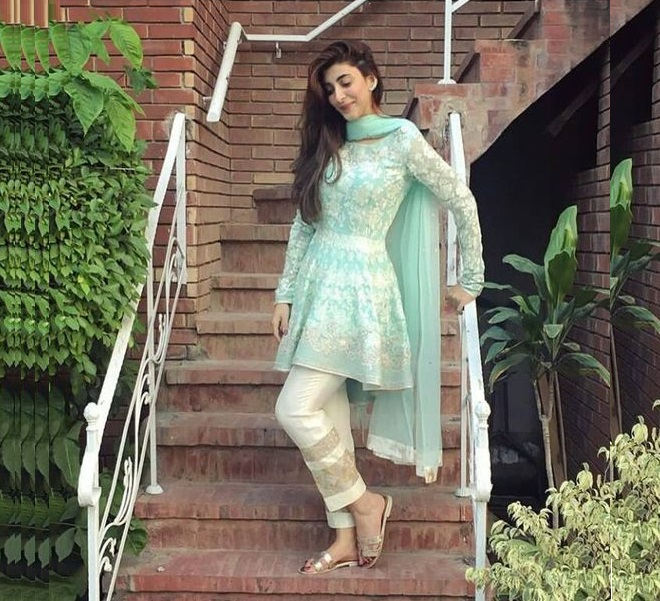 Urwa hocane wearing peplum frock with straight pant