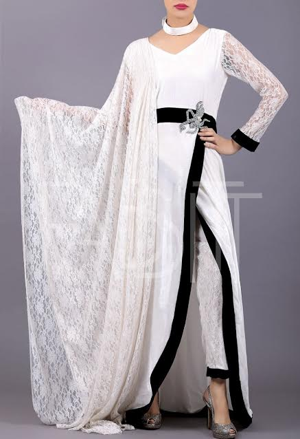 Simple white net sleeved shirt with Waist Belt having silver Brooch