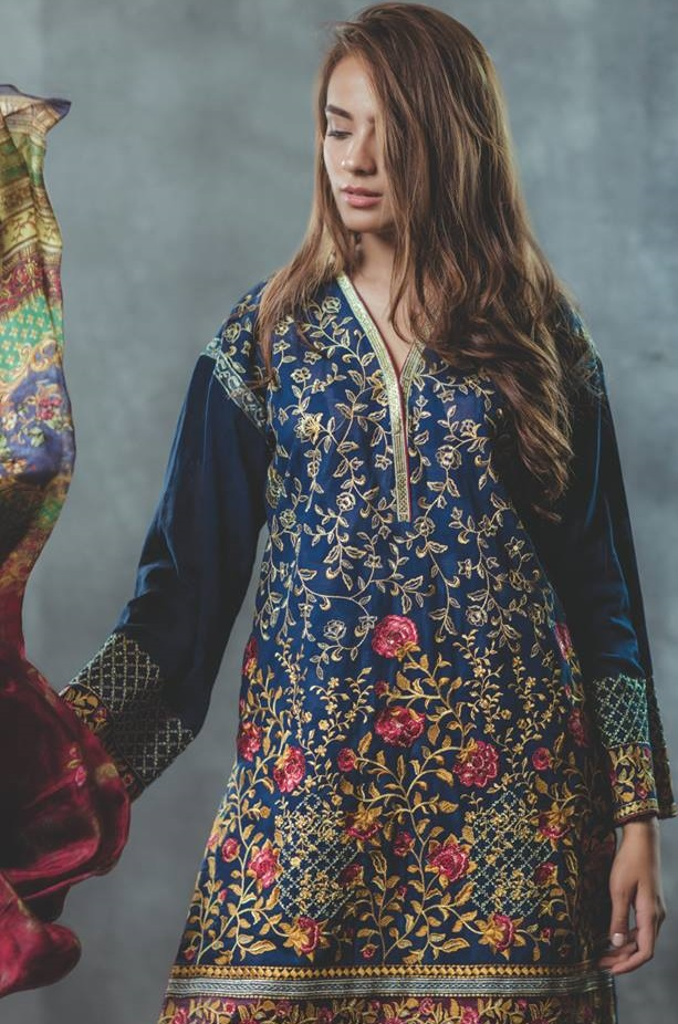 embroidered eid dress by Alkaram