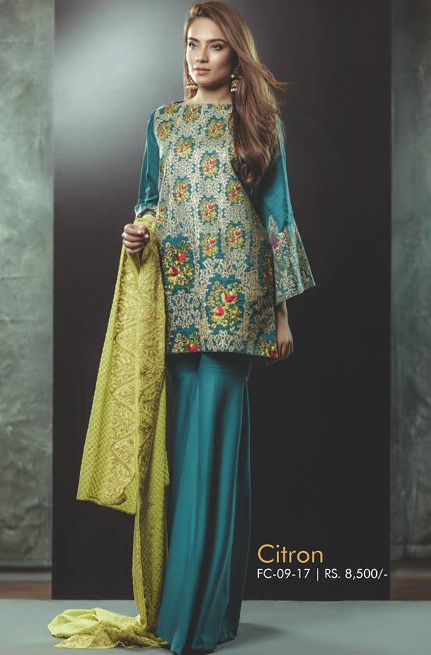 Alkaram Citron Cotton Net Shirt with Chiffon Dupatta and cambric pants