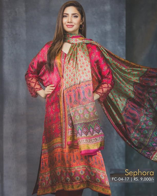 Mahira Khan wearing Alkaram Sephora Digital Printed Silk Dress