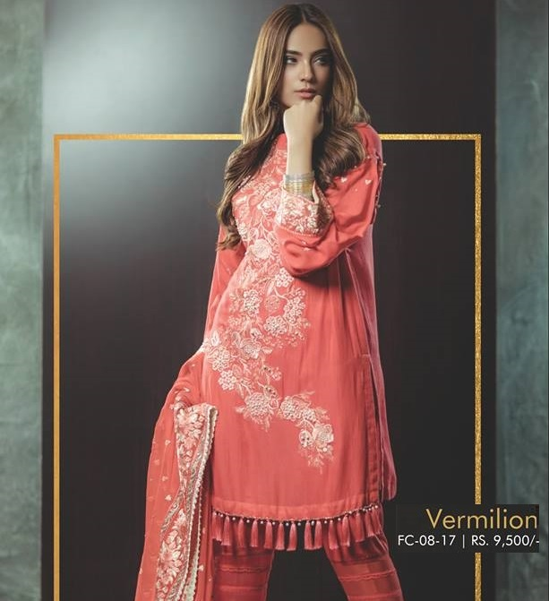 Alkaram Vermilion Cotton Net suit with Pearl embellishment