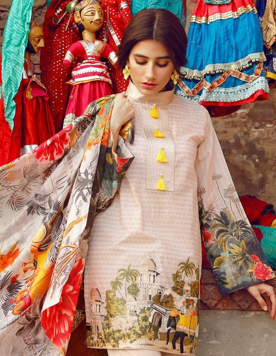 Cross Stitch Eid pink digital printed cotton lawn dress 2017