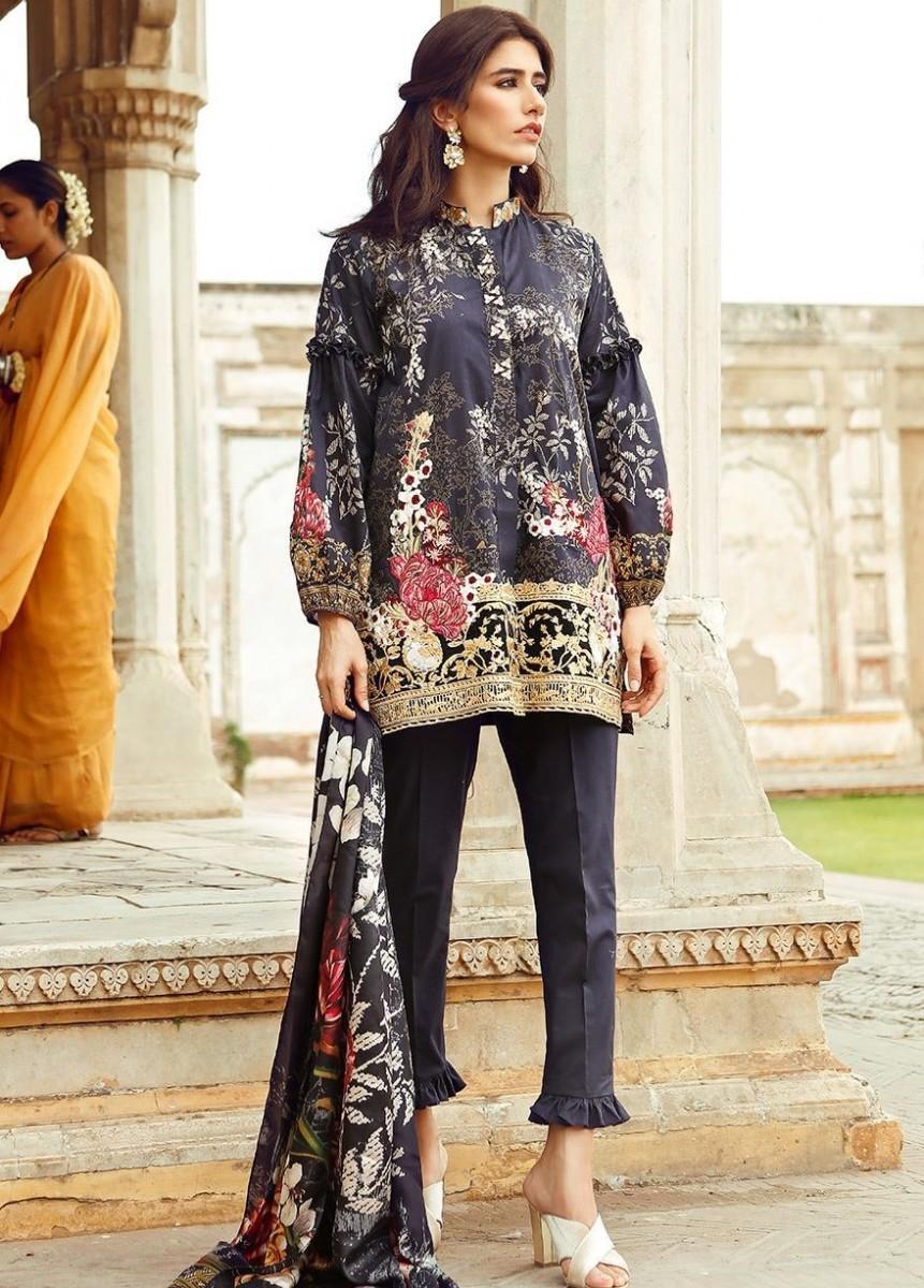 Cross Stitch Black Eid Dress with Embroidery on Shirt Hem
