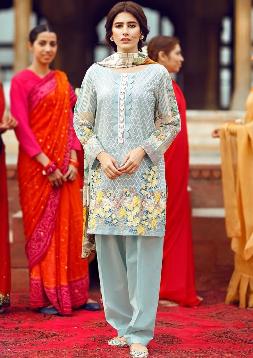 Cross Stitch Digital printed Eid dress for women