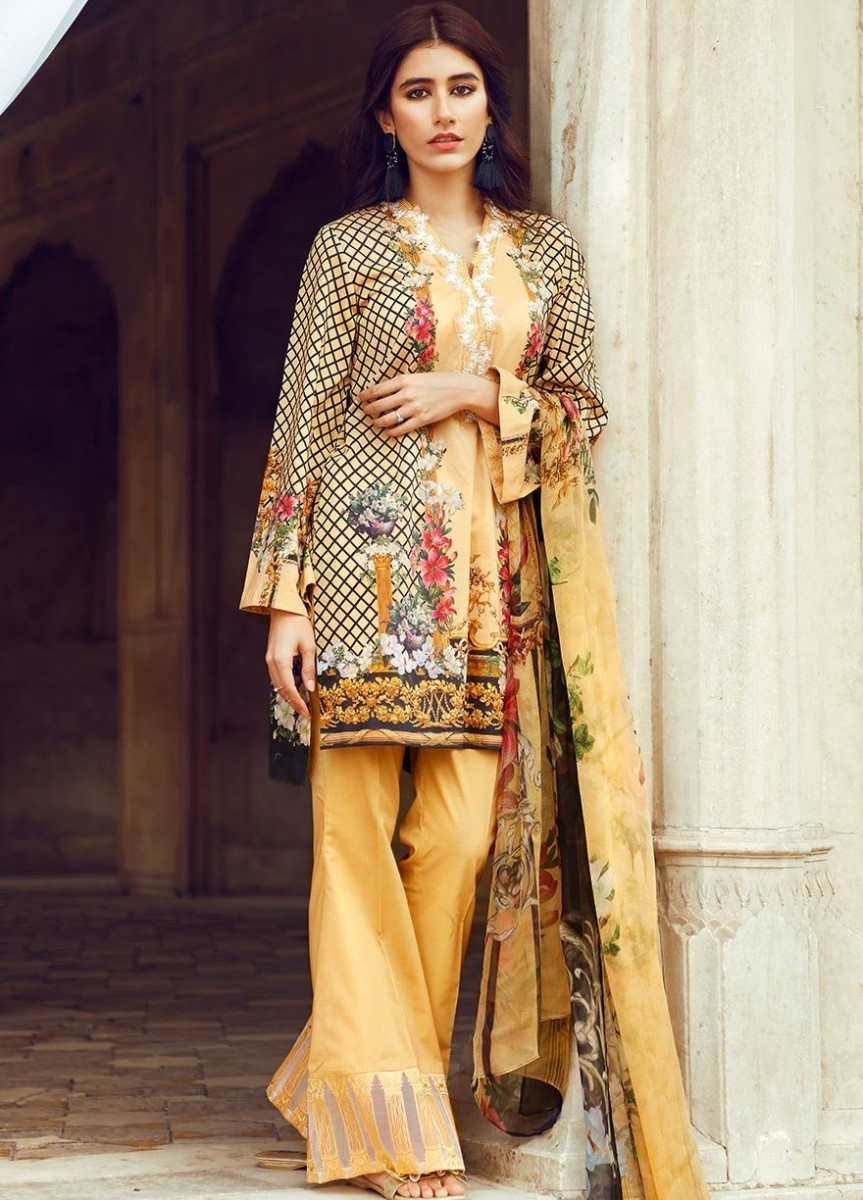 Cross Stitch Yellow Floral printed Eid Dress