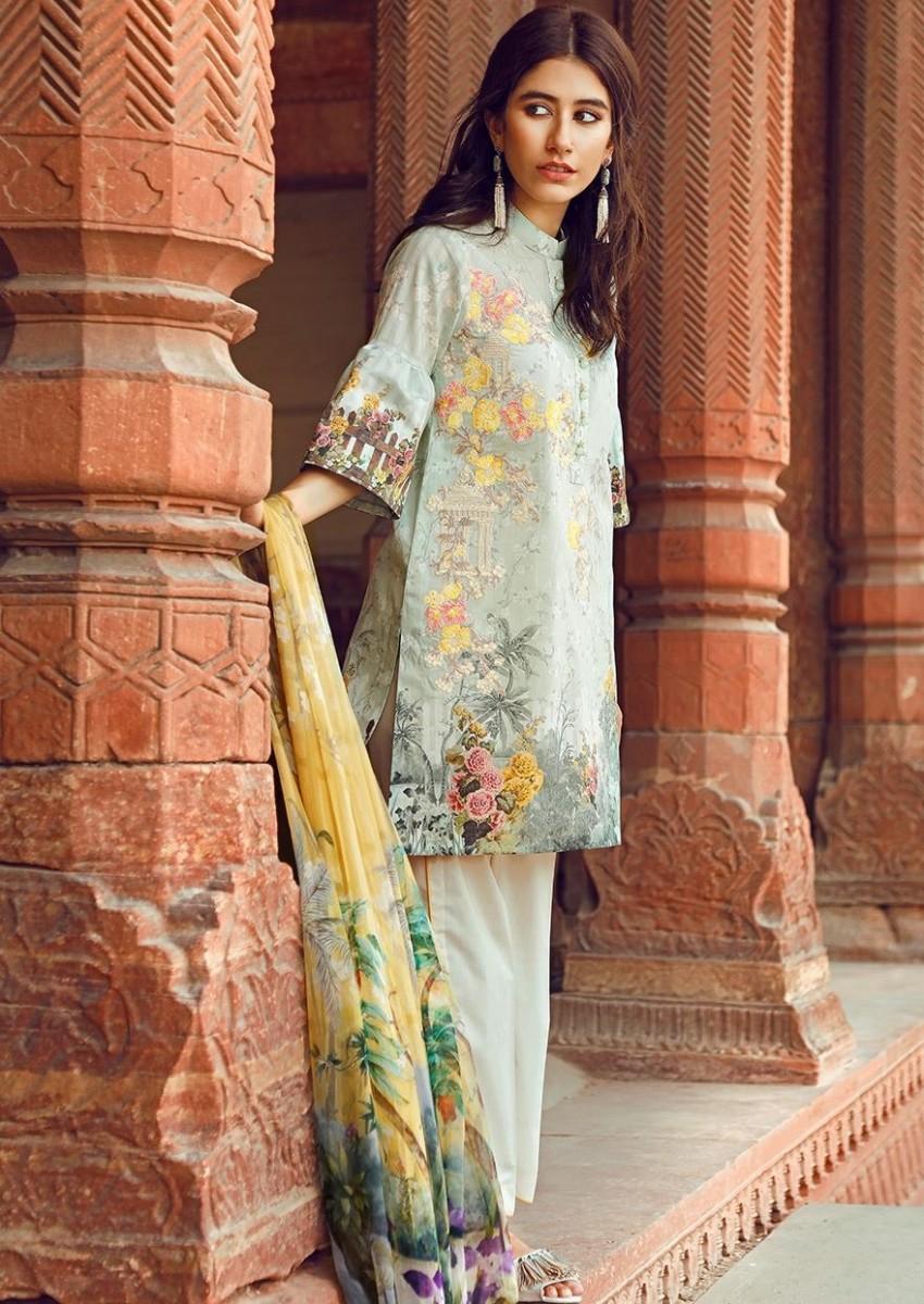 Cross Stitch Light green digital printed Eid dress with pure silk chiffon dupatta