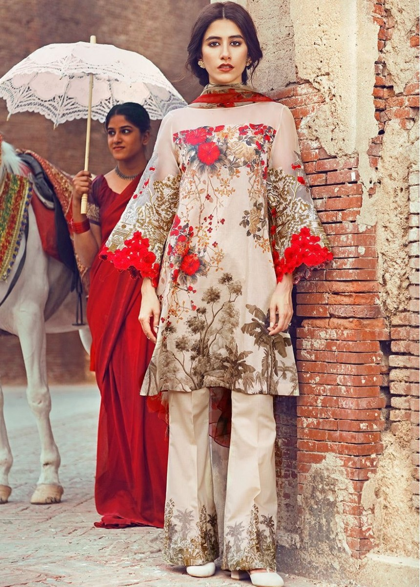 Cross Stitch Eid lawn floral red outfit for Eid