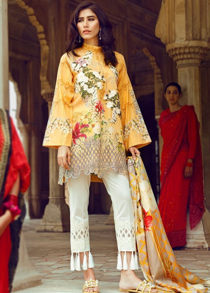 Floral printed yellow cotton lawn Eid dress with embroidered neckline and trousers