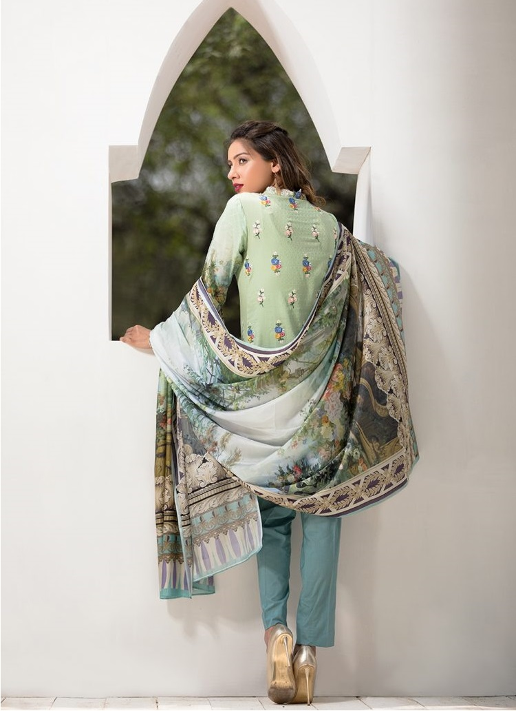 Embroidered Jacquard Shirt with silk dupatta