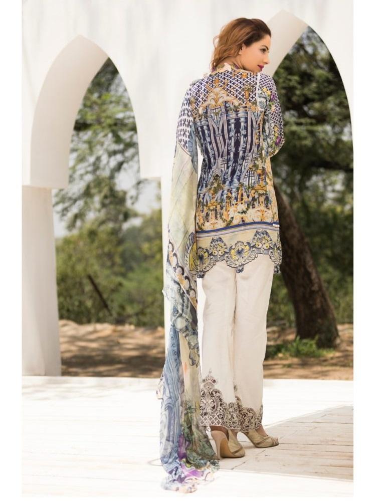 Firdous Eid lawn suit with chiffon digital printed dupatta