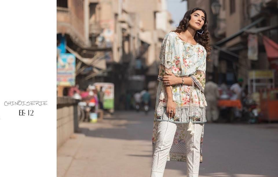 Firdous Eid lawn dress with tissue silk dupatta