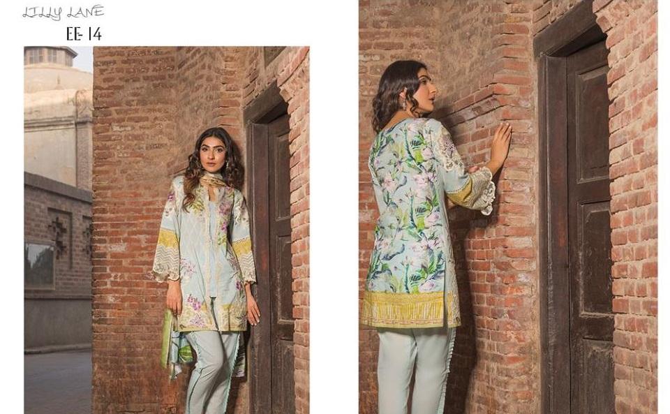 Firdous Festive dress with Printed silk Dupatta for Eid