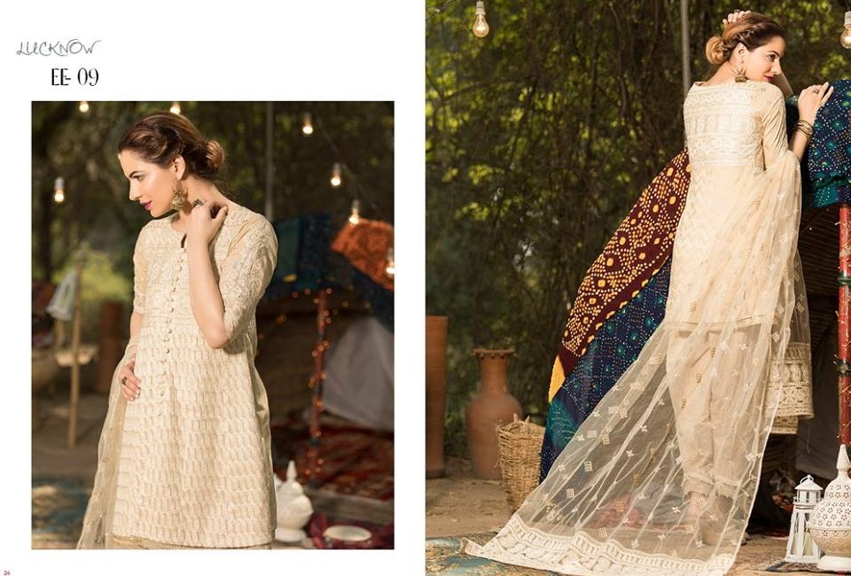 Firdous Formal Eid embroidered lawn suit with embroidered net dupatta