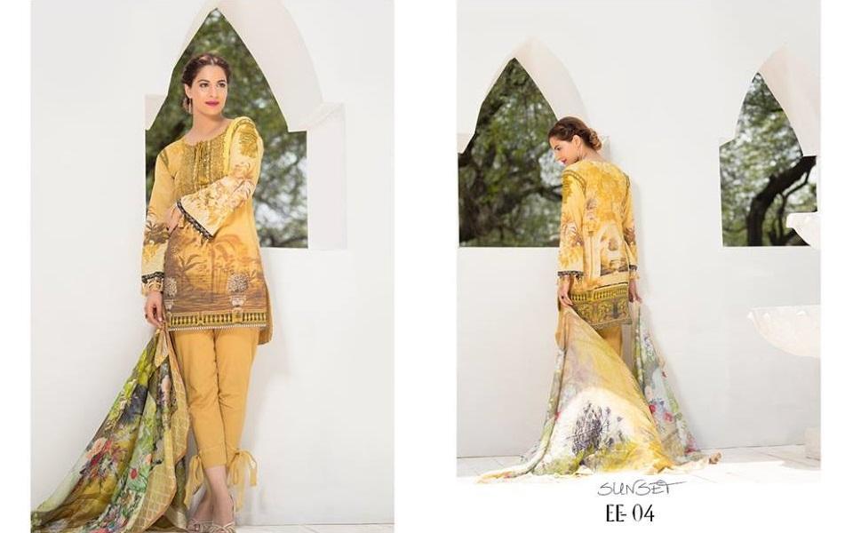 Digital printed Eid suit with organza gala design by Firdous