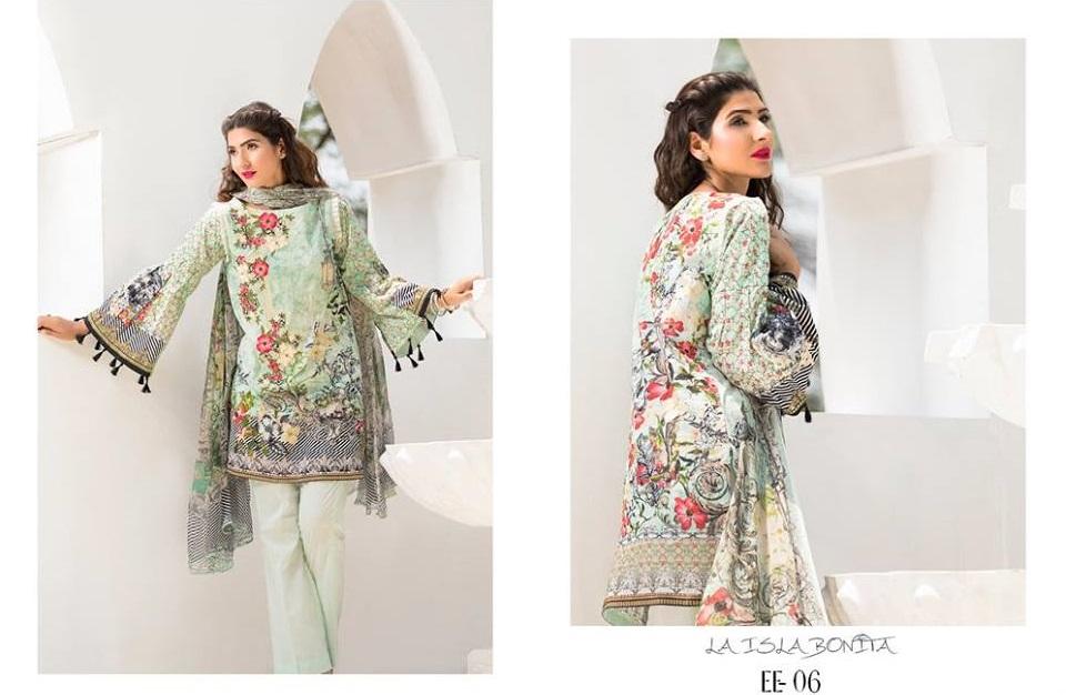 Digital Printed Eid Shirt with Organza Neckline by Firdous