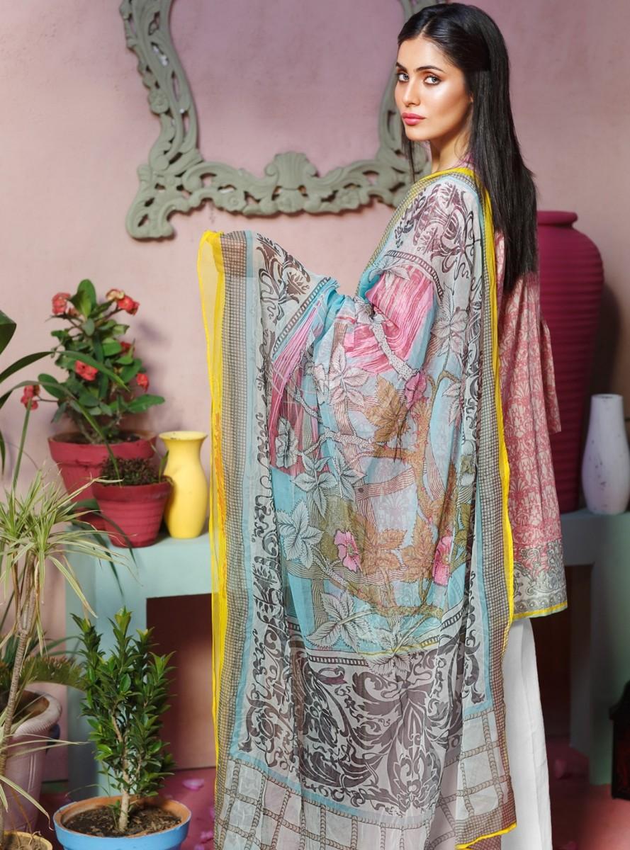 Khaadi Pink embroidered lawn eid dress with chiffon dupatta