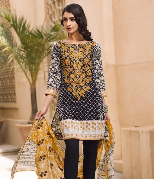 Black embroidered eid outfit with yellow embroidery