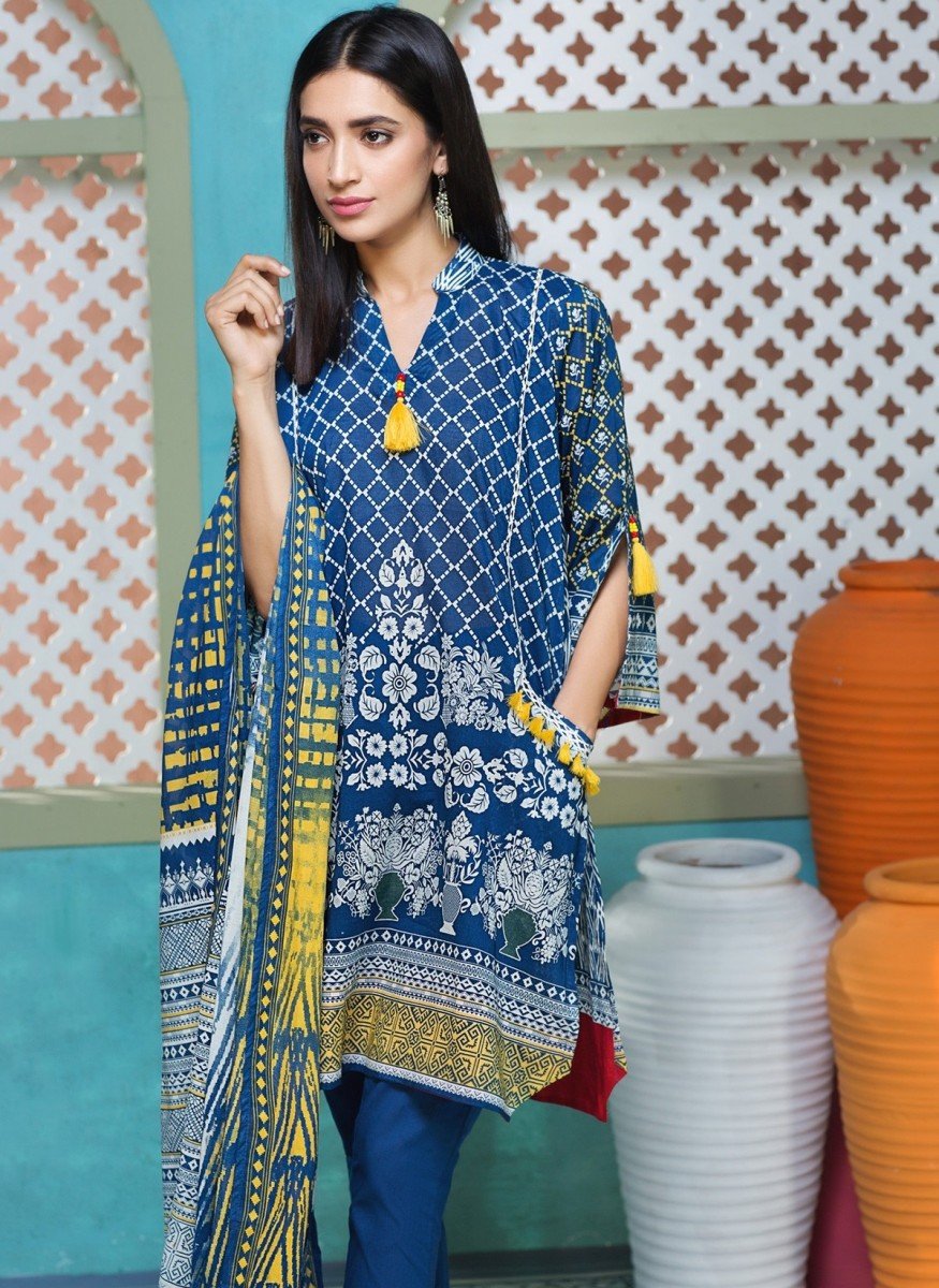 Printed lawn three piece eid outfit by Khaadi