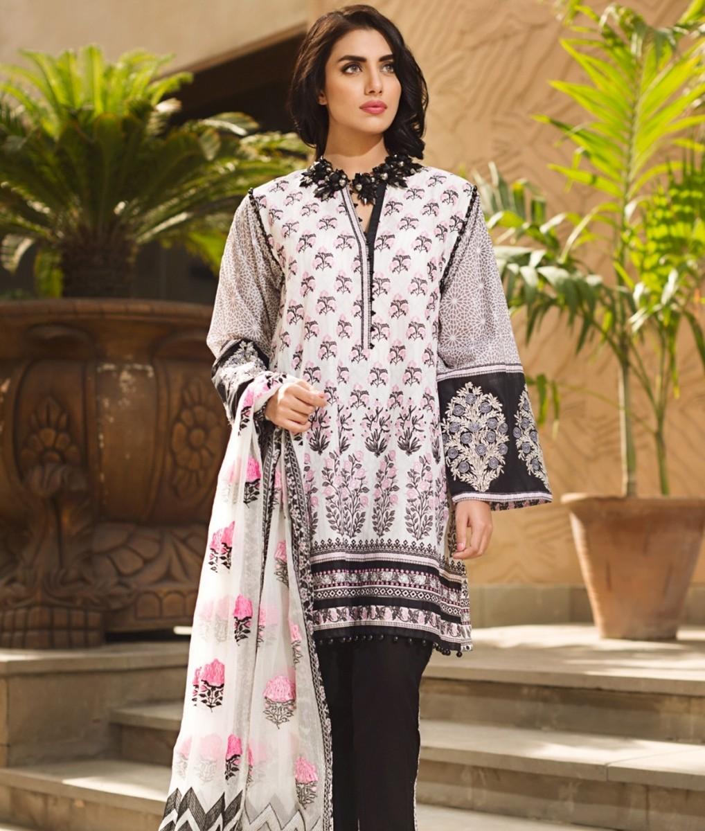 Khaadi three piece lawn Eid dress in black and white