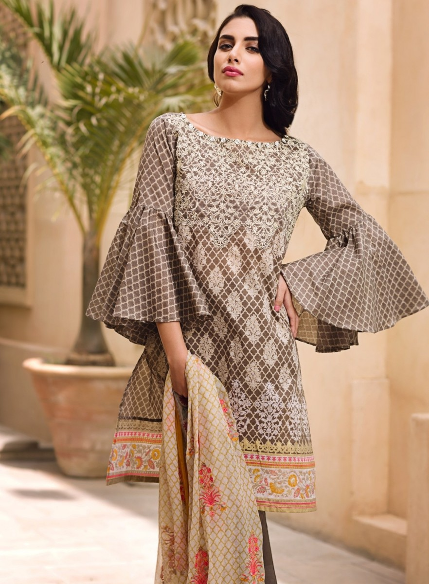 Grey lawn suit with embroidered neckline and embroirdered chiffon dupatta