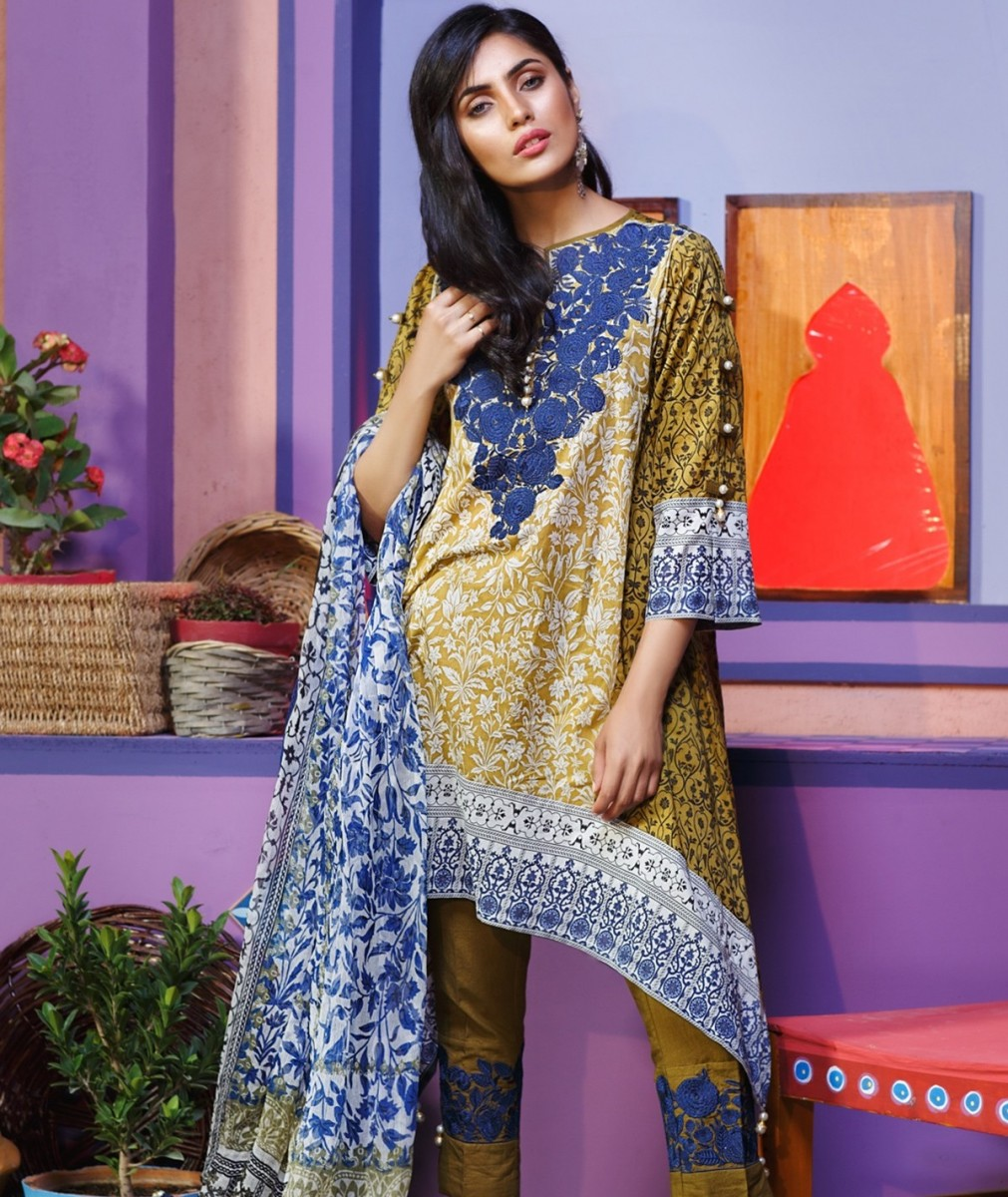 Embroidered Eid lawn Summer dress by Khaadi festive collection