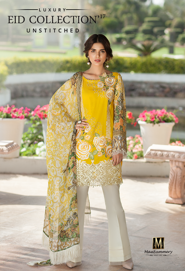 Two Piece Embroidered Lawn Chiffon Suit with chiffon dupatta