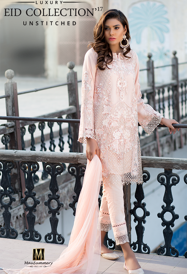 Mausummery Embroidered Polynet Chiffon Suit for Eid