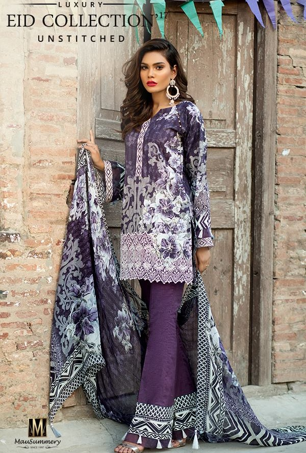 Mausummery Digital Printed embroidered Lawn Chiffon Eid Suit