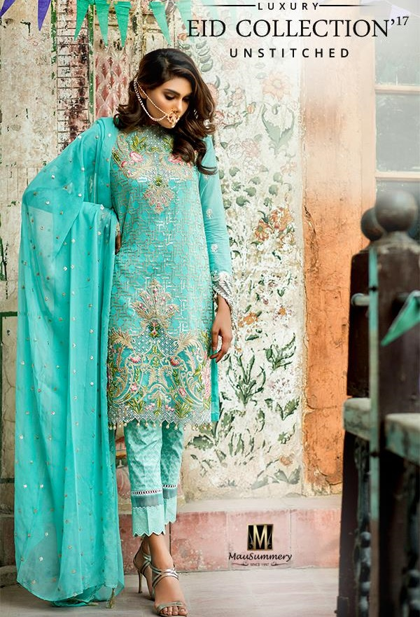 Mausummery Embroidered Cotton Net Chiffon Suit for Eid