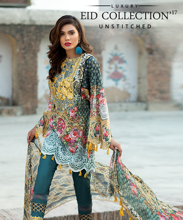 Embroidered Digital Printed Lawn Eid Chiffon Suit by Mausummery
